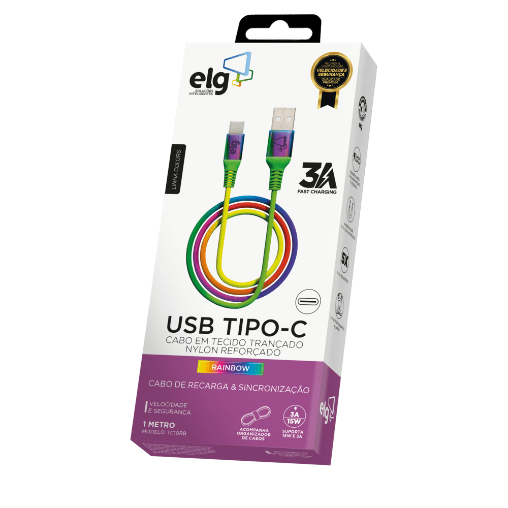 CABO ELG TIPO C 3A TC10RB RAINBOW 1MT